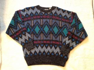 Vintage 80s Bill Cosby Hipster Sweater L Pattern Multi Color Ugly