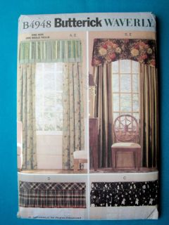 WINDOW TREATMENTS Curtains Drapes Valances BUTTERICK Sewing Pattern