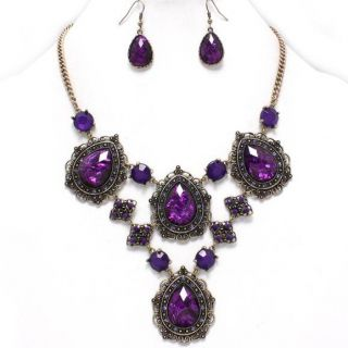 Purple Crystal Antique Gold Bib Statement Necklace Set Costume Jewelry