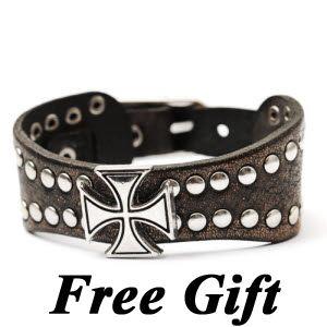 Korean Warrior Cross Stud Leather Men Women Bracelet