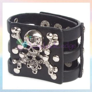 Gothic Skull Cross Bones Leather Mens Bracelet Bangle
