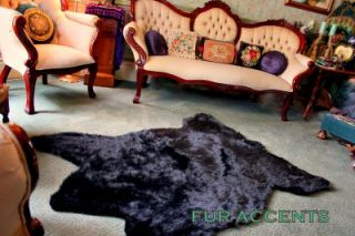 54x80 Faux Fur Rug Black Bear Accent Rug Fake Shag Taxidermy Pelt