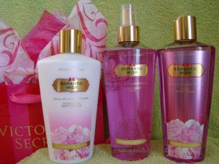 Victorias Secret Romantic Wish Body Mist Lotion Wash 3 PC New
