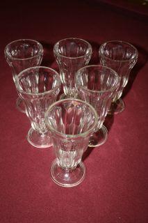Set of 6 Vintage Ice Cream Soda Shop Malt Glasses