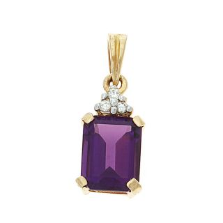 Gold 1 49ctw 6 x 8 mm Emerald Cut Amethyst and Diamond Pendant