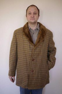 Vintage 1970s Cresco Houndstooth Wool Faux Fur Lined Mens Car Over