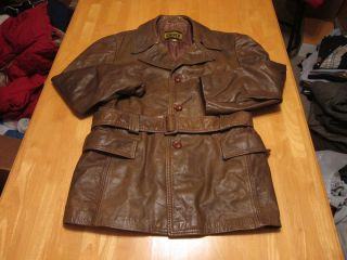 Men Vtg Brown Belted Cresco Leather Trench Coat Jacket Button Rocker