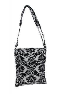 and Black Damask Print Canvas Crossbody Bag Color White Black