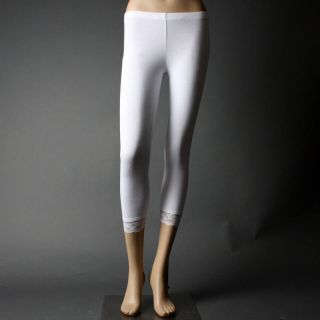 Juniors White Skinny Lace Bottom Cotton Pants Leggings Size L