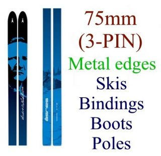 NEW ASNES 75mm 3 pin cross country XC SKIS BINDINGS BOOTS POLES Metal