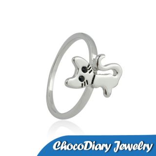 Silver Plated Alloy Childhood Cute Cat Finger Cocktail Ring
