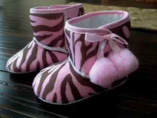 Soft Baby Crib Boots Zebra Brown Pink Print Size 13 cm 5 25 Inches