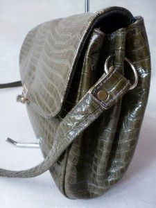 FAB CROUCH & FITZGERALD NY HUNTER GREEN CROCODILE EMBOSSED LEATHER