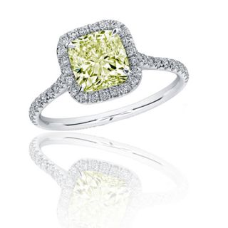 Diamond Engagement Ring 2 33 carat Fancy Light Yellow Cushion Cut in