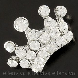 Sparkling Cute King Crown Clear Rhinestones Pin Brooch Silver Tone