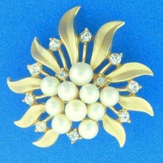 Vintage Crown Trifari Pearl Rhinestone Floral Brooch Pin Goldtone