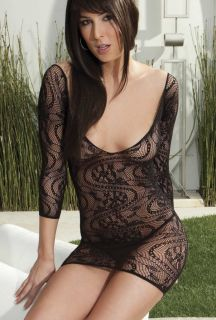 Lace Long Sleeve Mini Dress Chemise w Criss Cross Back Initmates 90257