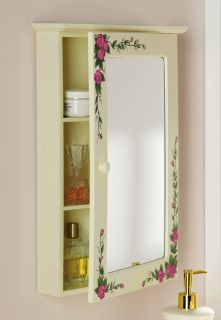 Country Pink Rose Floral Flower Bathroom Medicine Mirror Wall Cabinet