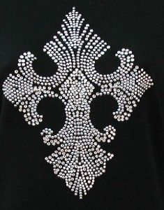 Rhinestone Stud Embellished Plus Tee Shirt Cross Design 2
