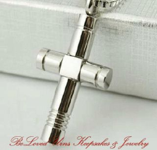 Stainless Steel Block and Cylinder Cross Cremation Jewelry Keepsake