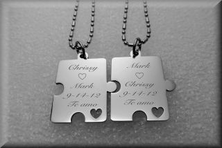 PERSONALIZED STAINLESS STEEL PUZZLE PIECE PENDANTS NECKLACE CUSTOM