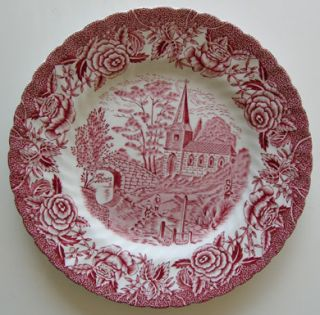 British Anchor English Country Scenes Red Bread Plate