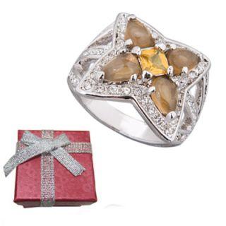 Fashion Princess Cut Citrine Yellow Crystal Flower Ring