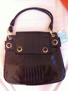 Cynthia Rowley Black Patent Leather Hobo Purse