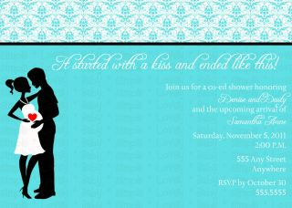 Tiffany Blue Damask Couples Co ed Baby Shower Invite Invitation DIY