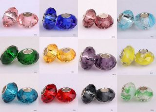 5pcs Faceted Crystal Glass Lampwork Loose Beads Fit European Charms