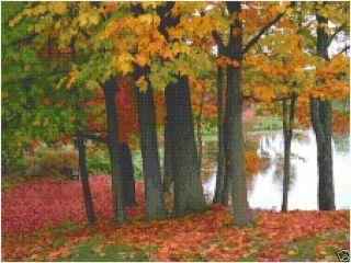 Autumn Fall Trees Lake Counted Cross Stitch Pattern