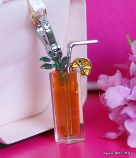 Sale♥ Juicy Couture Lemon Ice Tea Drink Glass Silver Charm Bracelets