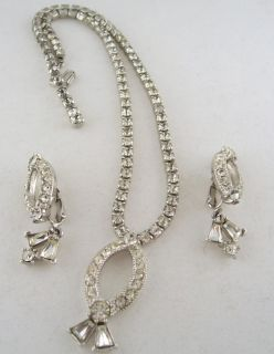 Vtg Sarah Coventry Shimmering Stars Rhinestone Necklace Earring Set