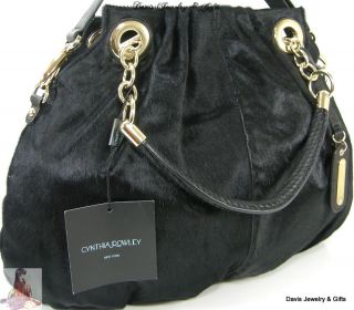 Cynthia Rowley XL Tote Purse Shoulder Bag Black Calf Fur Hair