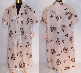 Vintage 1960 Charmode Blush Nylon Brown Roses Negligee Peignoir Robe