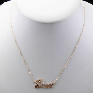 18inch Sweet Sterling Color Silver CZ Pendant Necklaces