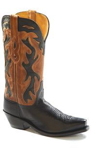 8M 8 B M OLD WEST BLACK TAN SNIP TOE WESTERN COWBOY INLAYS BOOTS NEW