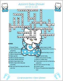 Hello Kitty Custom Crossword Baby Shower Puzzles