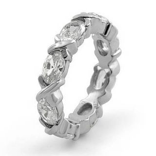 Marquise Eternity Cubic Zirconia Antique Style Wedding Band Ring