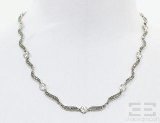 Designer Sterling Silver Pave Marcasite Cubic Zirconia Necklace