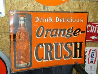 Old Orange Crush Soda Pop Country Store Embossed Tin Sign w/ Bottle