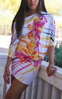Off Shoulder Crystal Beach Tropical Vacation Sun Kimono Mini Dress