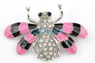 Pink Austrian Rhinestone Crystal Splendid Bumble Bee Brooch Pin