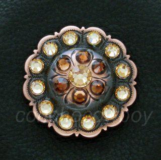 Western Copper Flower Crystal Rhinestone Concho 1 Inch