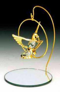 Hummingbird 24K Gold Swarovski Crystal Mirror Stand