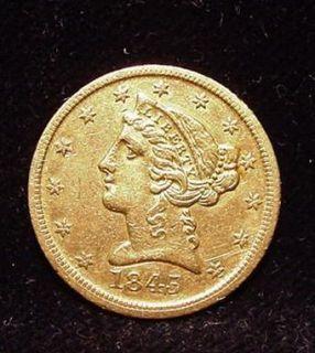 RARE MINT 1845 D Dahlonega Liberty Head GOLD 1 2 Eagle 5 Coin AU