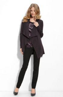 Eileen Fisher Beaded Wool Cardigan, Paillette Shell & Side Zip Pants