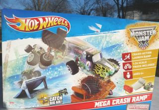 Jam Grave Digger Truck Mega Crash Ramp Launch New Playset