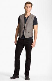 John Varvatos Star USA Henley, Vest & AG Jeans Straight Leg Jeans