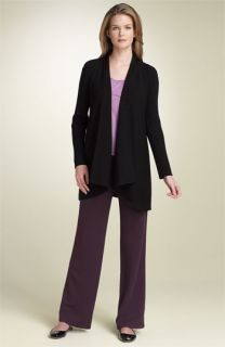 Eileen Fisher Ribbed Merino Wool Cardigan & Straight Leg Pants